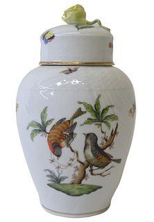 Herend Rothschild Bird Porcelain Lidded Vase