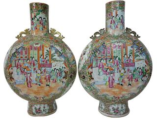 Chinese Export Rose Medallion Moon Flask Vases