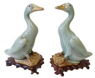 Late 19th Century Chinese Green Glazed Ducks