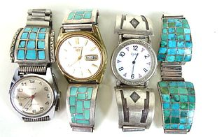 Four (4) Navajo Turquoise & Sterling Silver Watch