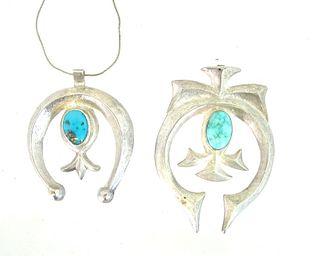 Pair of Navajo Squash Blossom Necklace Pendants