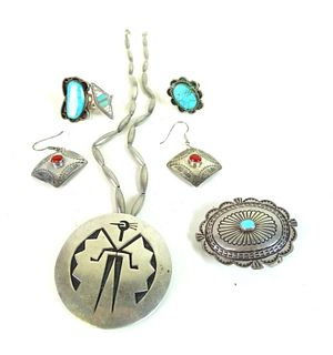 Miscellaneous Lot (6) Navajo Turquoise & Sterling