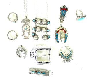 Miscellaneous (10) Lot Sterling Silver & Turquoise