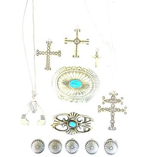 Miscellaneous (13) Lot Sterling Silver & Turquoise