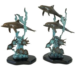 Pair of Robert Wyland Style Polychrome Bronzes