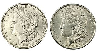 1886 and 1889 Morgan Silver Dollar Coin Lot