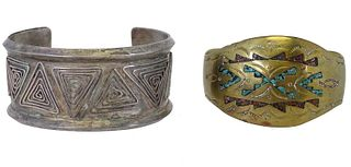 Pair of Navajo Turquoise, Silver, & Brass Cuffs