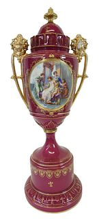 Royal Vienna Style Porcelain Lidded Vase