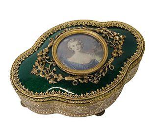 French Gilt Bronze & Enamel Portrait Vanity Box