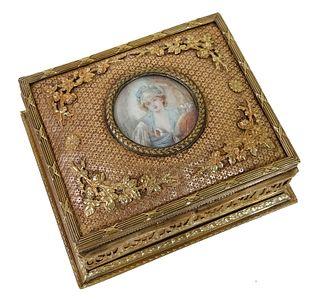 French Gilt Bronze Portrait Vanity Box
