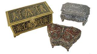 Three (3) Ornate Metal Vanity Boxes
