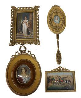 Three (3) European Portraits & a Vanity Mirror
