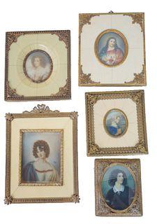 Five (5) European Gold Gilt Portrait Frames