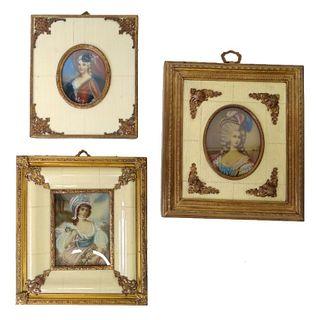 Three (3) European Gold Gilt Portrait Frames