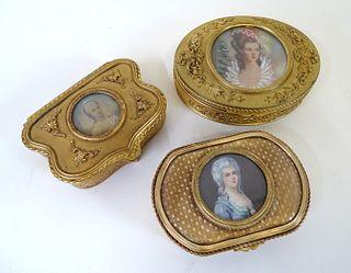 Three (3) French Gilt Bronze Portrait Vanity Boxes