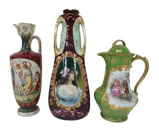 Pair of Royal Vienna Style Pitchers and a Vase