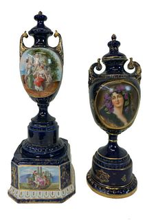 Pair of Royal Vienna Cobalt Blue Lidded Urns
