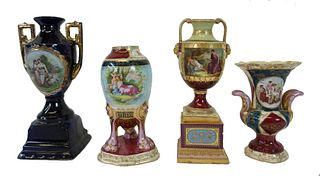 Four (4) Royal Vienna Style Porcelain Vases & Urns