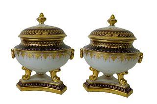 Pair of European Gold Gilt Lidded Vases