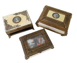 Three (3) European Gilt Bronze Jewelry Boxes