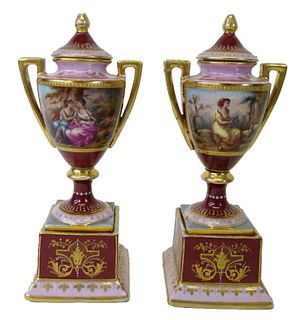 Pair of Royal Vienna Style Gold Gilt Vases