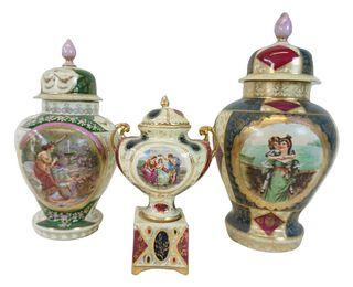 Three (3) Royal Vienna Style Gold Gilt Urns