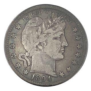 1894 Barber Quarter Dollar Coin