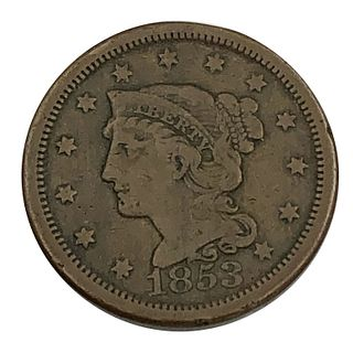 1853 Large Libeerty Head Cent Coin