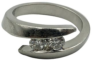 Platinum and DIamond Bypass Style Ring Size 8 Appr