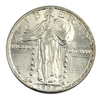 1925 Gem BU Stamding Liberty Quarter Coin