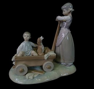 Lladro #1253 Pulling Boy and Dog in Wagon