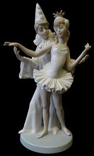 Lladro #4882 Carnival Couple Clown and Ballerina