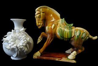 Blanc de Chine Vase and an Oriental Horse Figure