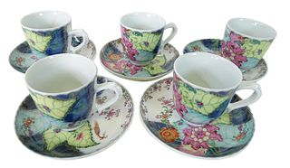 Five (5) Mottahedeh Tobacco Leaf Cups and Saucers