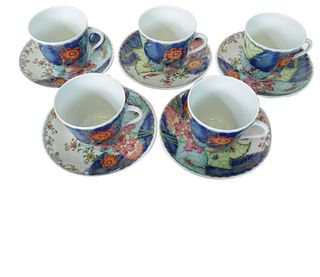 Six (6) Mottahedeh Tobacco Leaf Cups and Saucers