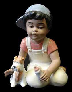 Nadal by Lladro Boy and Dog Porcelain