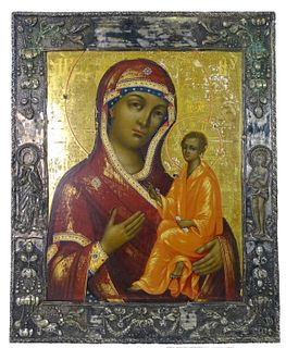 Russian Imperial Icon of Madonna on SIlver