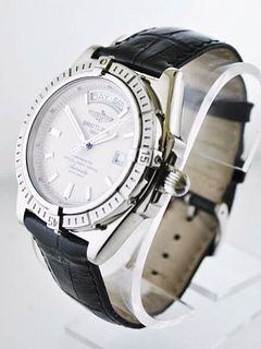 Breitling Chronometre Men's Automatic Watch White Dial w/ Day-Date SS $10K VALUE