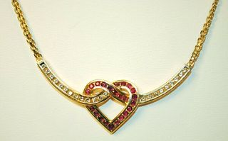 DIAMOND AND RUBY HEART NECKLACE IN SOLID YELLOW GOLD - $15K VALUE!