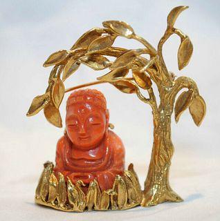 VINTAGE BORIS LE BEAU DESIGNER 1960'S CORAL BUDDHA BROOCH/PIN 18K - $20K Value