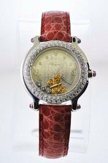 Chopard Happy Sport Floating Butterfly Diamond Ladies Wristwatch SS $35K VALUE