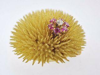 Vintage Tiffany & Co Dandelion Brooch Diamond Ruby Pin in 18K YG - $20K VALUE!!!