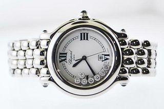 Chopard Happy Sport Floating Diamond Ladies Watch Ref#8236 SS- $15K VALUE,w/Cert