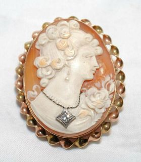 VINTAGE 1920'S DIAMOND HABILLíŠ SHELL CAMEO BROOCH/PIN & PENDANT - $3K VALUE