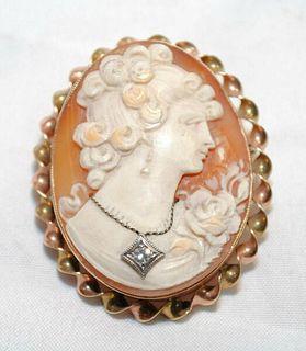 VINTAGE 1920'S DIAMOND HABILLíŠ SHELL CAMEO BROOCH/PIN & PENDANT - $3K VALUE