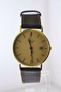 Vintage Chopard Ref. #1094 Thin Wristwatch YG Brown Leather Strap $15K VALUE
