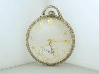Elgin Corsican Pocket Watch Engraved 14K WG Art Deco 1926 w/COA $20K VALUE!
