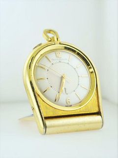 1950's Jaeger LeCoultre Memovox Travel Alarm Watch Gold Tone $10K VALUE, w/Cert!