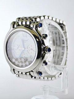 Chopard Ref #8267 Happy Sport Chronograph SS 7 Floating Diamond $20KVALUE,w/Cert
