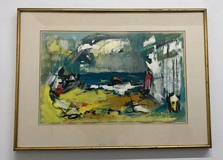 "Alexander Redein ""Seascape"" Modernism Oil Paper 1950s 20th Century Apr Val $10K"